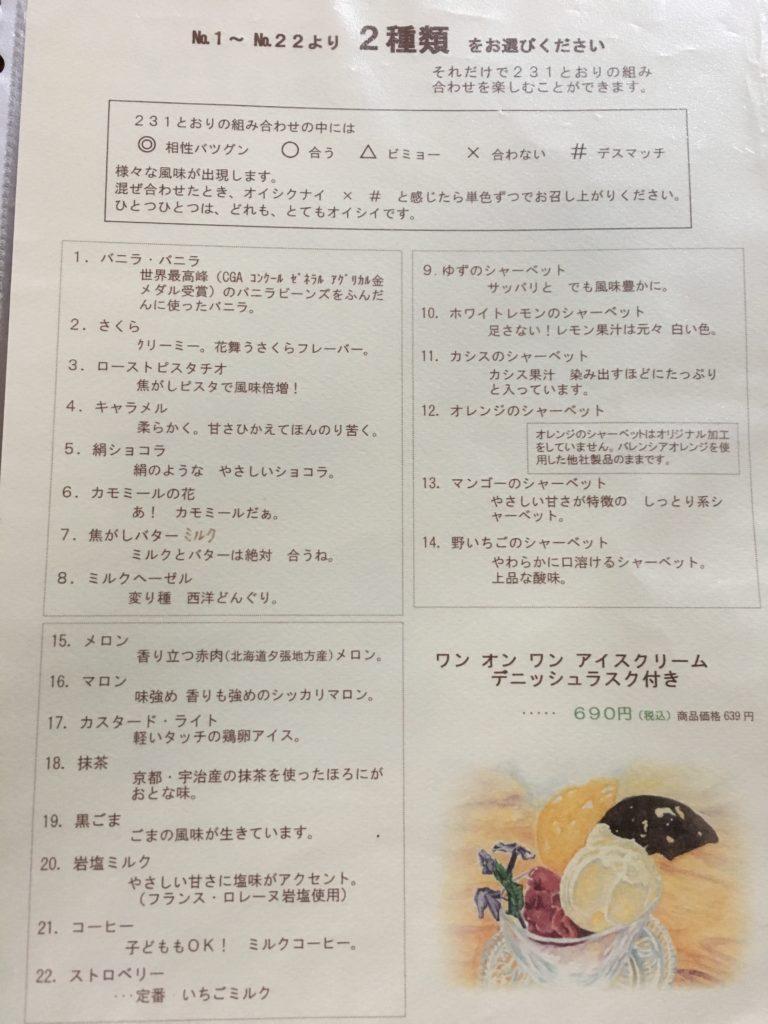 アイスの種類と詳細が書かれたメニュー
