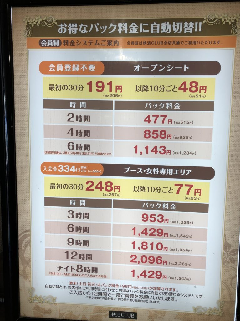 快活CLUBの料金表