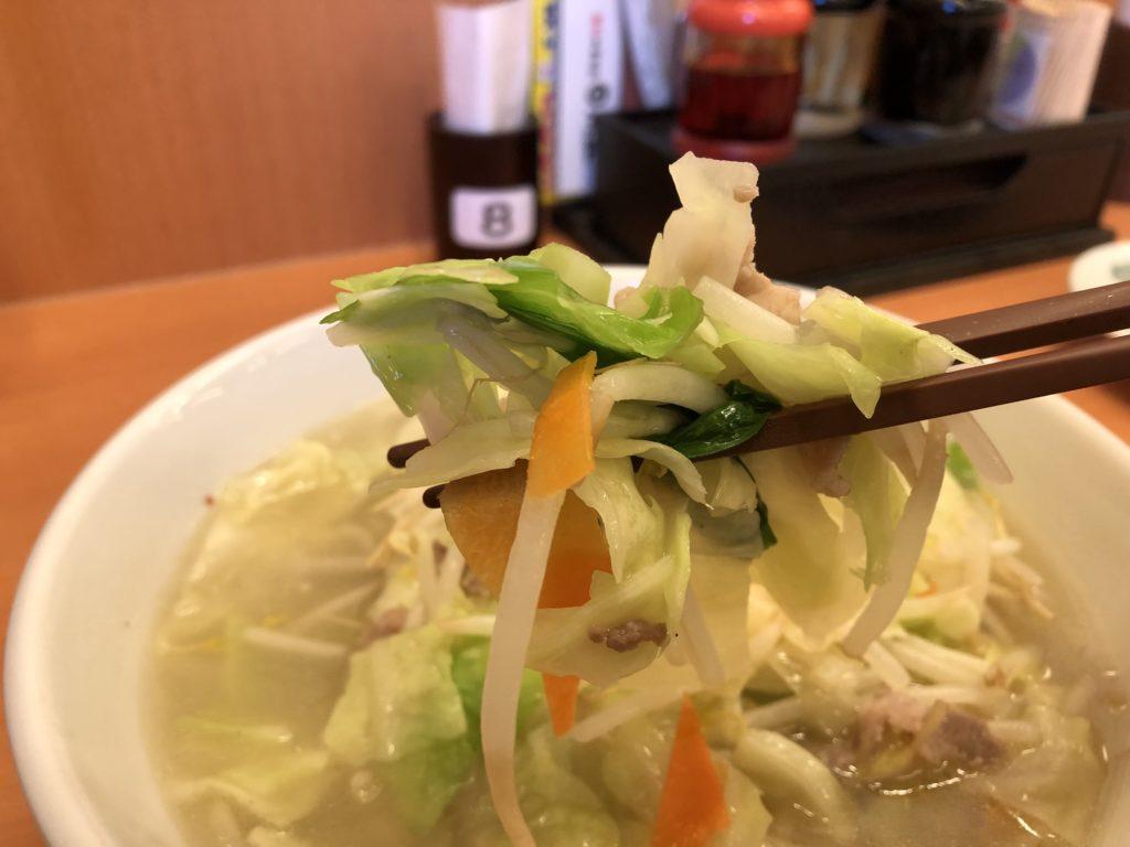 タンメンの野菜アップ写真