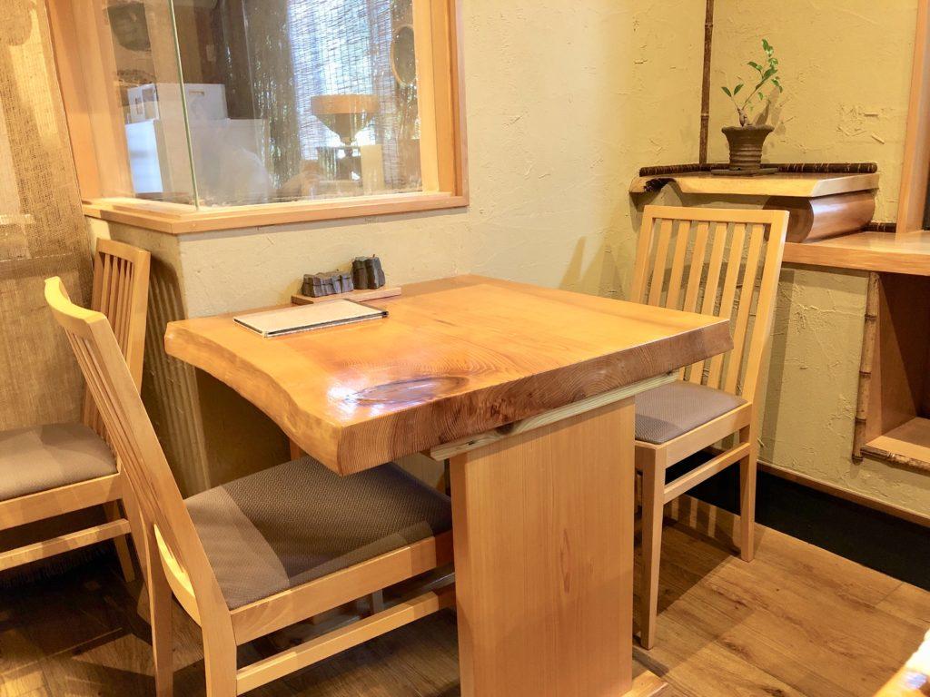 游山のテーブルとイスのアップ写真