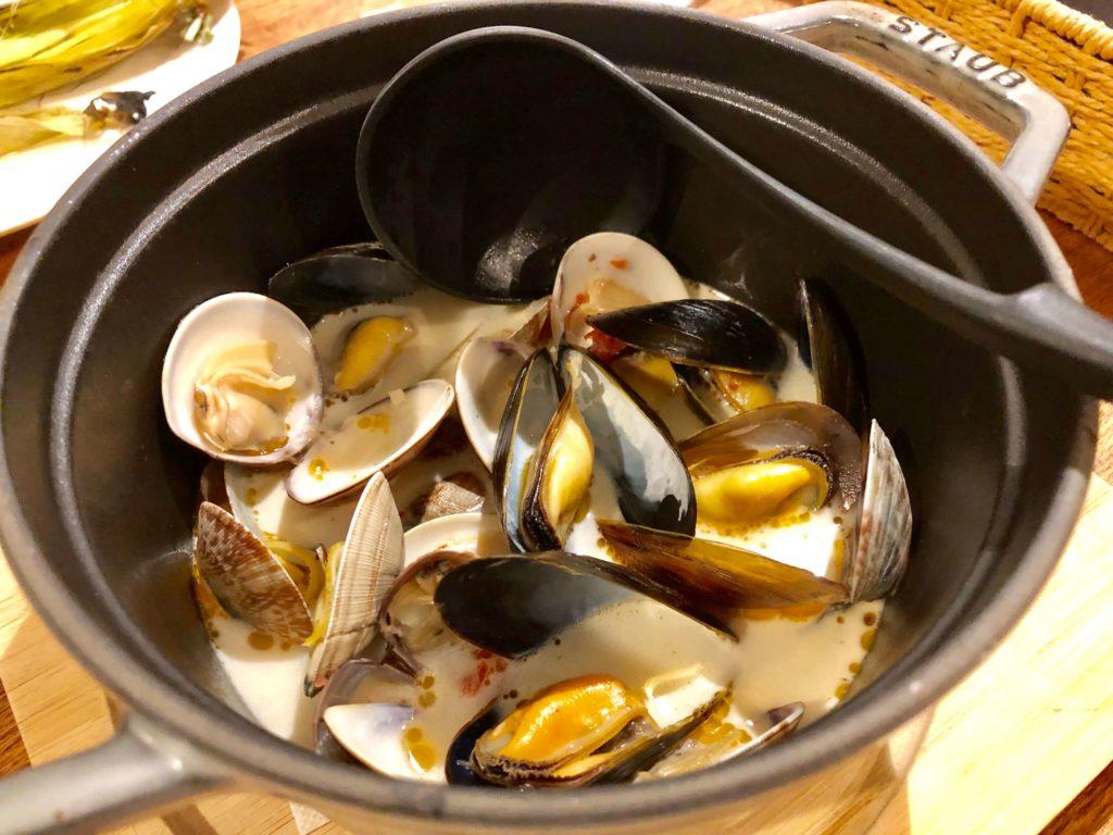 あさり・ハマグリ・ムール貝のクラムチャウダー